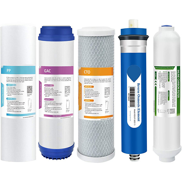 Complete Replacement Filter Cartridge Set for Under Sink 5-Stage Reverse Osmosis Filter Replacement Water System Water Purfier