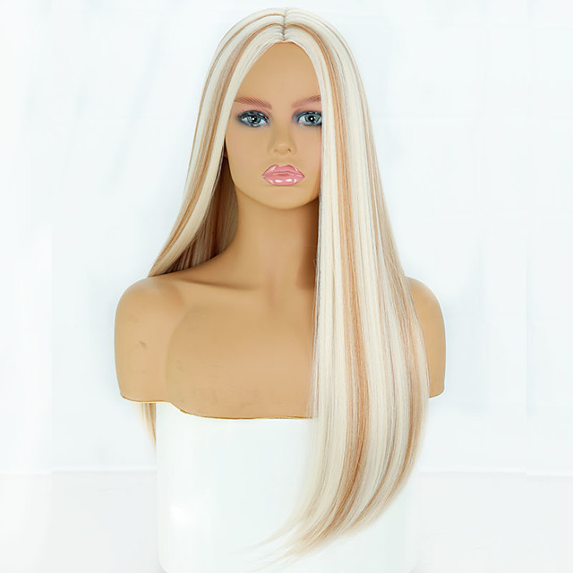 Synthetic Wig Natural Straight Middle Part Wig Medium Length A1 Synthetic Hair Women's Cosplay Party Fashion Blonde Brown
