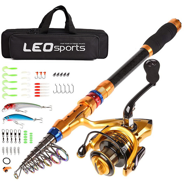 Telescopic Fishing Rod and Reel Combo Carbon Fiber Fishing Pole and Reel with Lures Tackle Hooks Carrier Bag 1.8/2.1/2.4/2.7/3.0/3.6m for Sea Fishing Saltwater and Freshwater