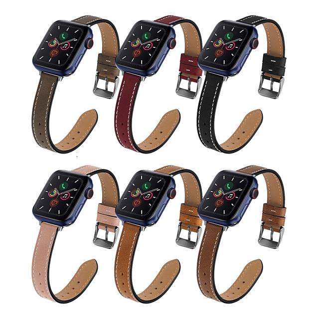 Bracelet de montre connectée pour Apple  iWatch 1 pcs Bande d'affaires Vrai Cuir Remplacement Sangle de Poignet pour Apple Watch série SE / 6/5/4/3/2/1