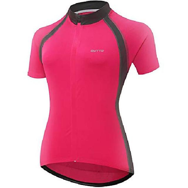 women's short sleeve bike riding shirts cycling jersey with pockets (medium, 6011aw pink)