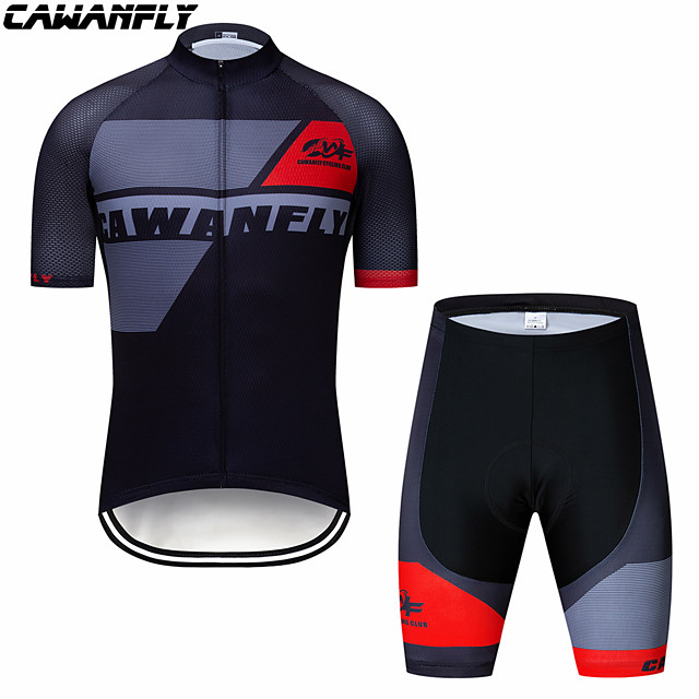 CAWANFLY Boys' Short Sleeve Cycling Padded Shorts Cycling Jersey with Bib Shorts Cycling Jersey with Shorts Spandex Red / White Black / Red Black / Yellow Bike Shorts Breathable Sports Geometic