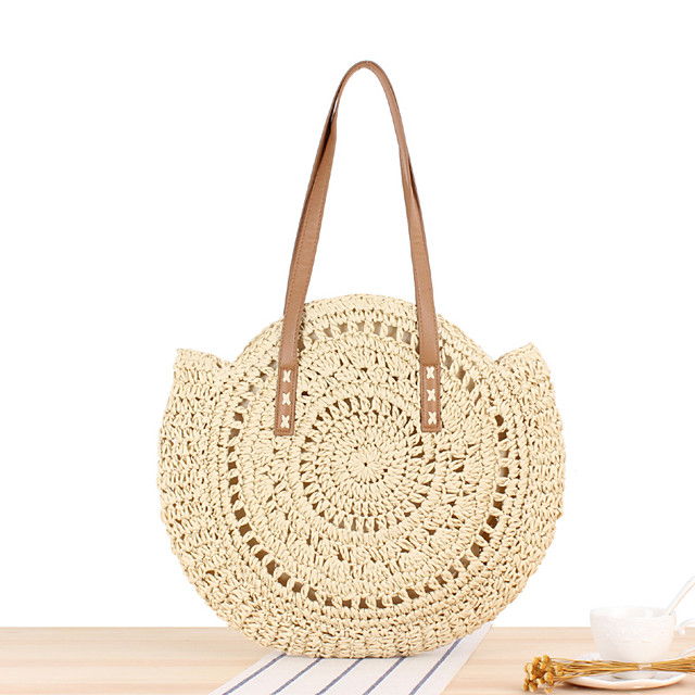 Women's Bags Tote Straw Bag Bohemian Style Solid Color Daily Holiday Straw Bag Handbags Brown Beige