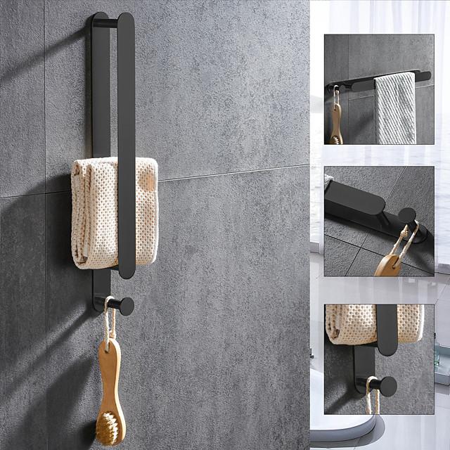 håndklædestang og håndklædestativ med kroge nyt design rustfrit stål badeværelse håndklædestativ vægmonteret malet finish 1pc