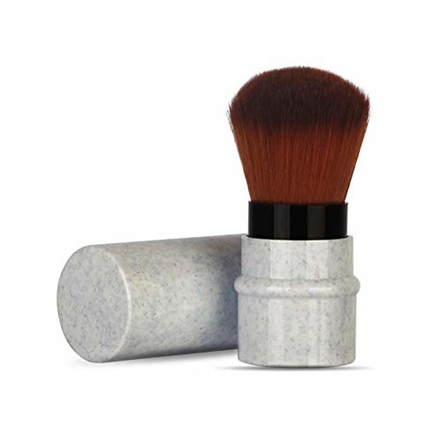 makeup foundation brush stretchable handle blusher short marbling makeup foundation brush (blue)