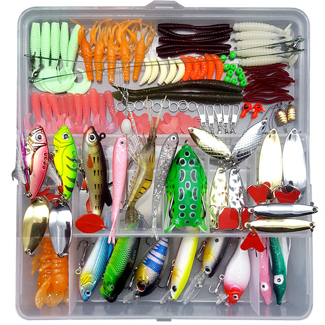 122 pcs Lure kit Fishing Lures Hard Bait Soft Bait Spoons Minnow Pencil Popper Vibration / VIB lifelike 3D Eyes Bass Trout Pike Sea Fishing Lure Fishing Freshwater and Saltwater