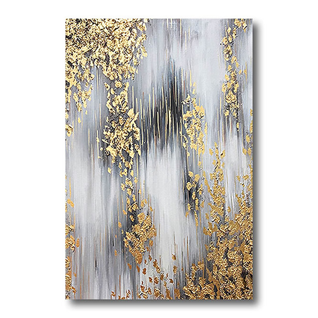 Stretched Oil Painting Hand Painted Canvas Abstract Comtemporary Modern High Quality Grey Golden Ready to Hang