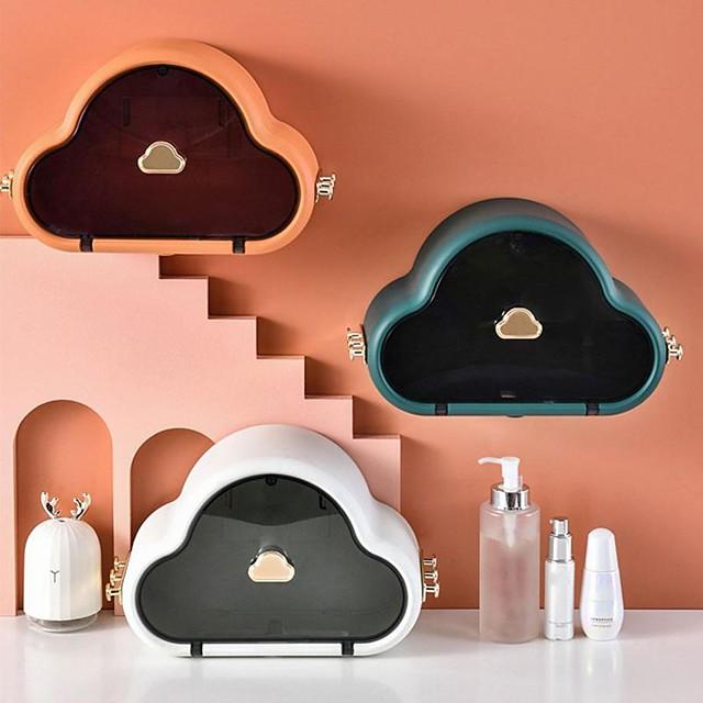 Cloud Shaped Tissue Box Wash Towel Rack Bathroom Wall-Mounted Box Toilet Organizer Paper Holder For Kitchen Storage Cosmeti