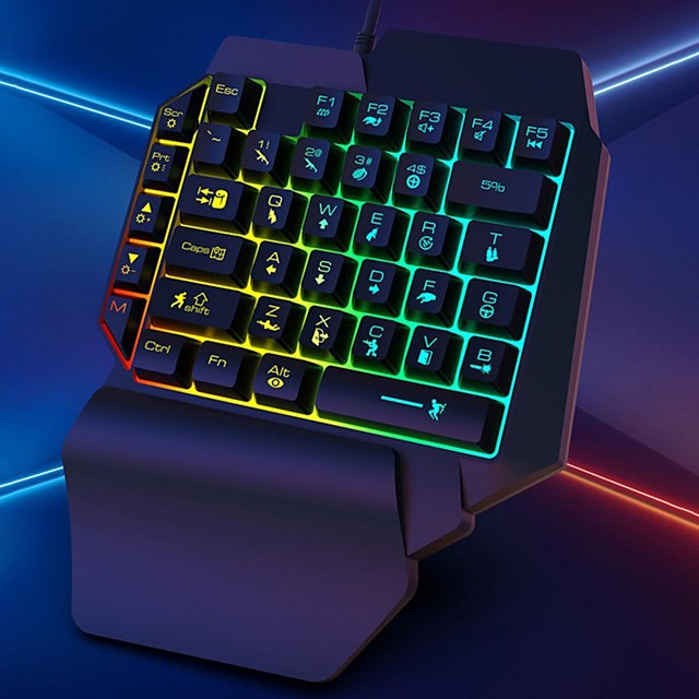 k15 keyboard glowing characters strong resilience rgb one handed mechanical gaming keyboard for computer