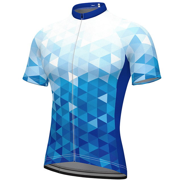 21Grams Men's Short Sleeve Cycling Jersey Summer Spandex Polyester Blue Fluorescent Bike Jersey Top Mountain Bike MTB Road Bike Cycling Quick Dry Moisture Wicking Breathable Sports Clothing Apparel