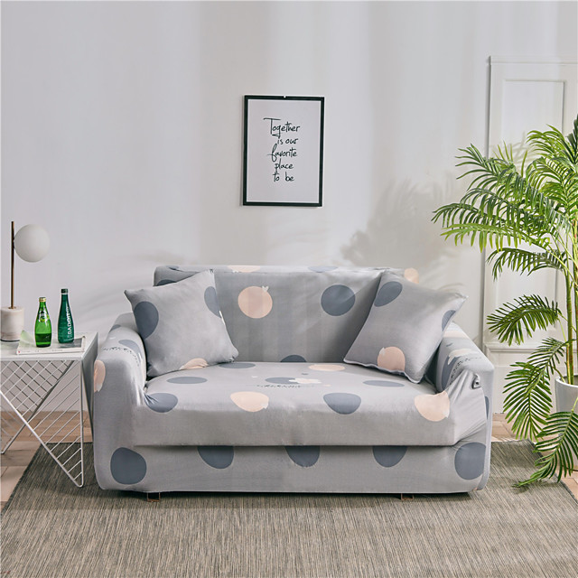 Gray Print Dustproof Stretch Sofa Cover Super Soft Fabric Fit for 1to  4 Cushion Couch and L Shape Sofa (You will Get 1 Throw Pillow Case as free Gift)