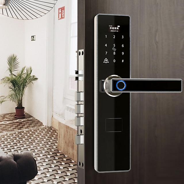 Anti-theft semi-automatic smart door lock graffiti lock password electronic home smart fingerprint lock