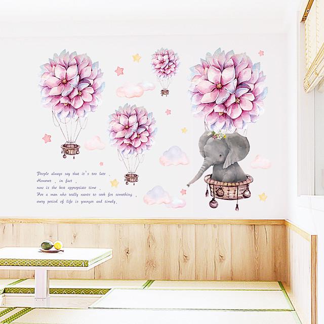 Romantic Ball Cartoon Small Elephant Cloud Hot Air Balloon Bedroom Porch Wall Beautification Decorative Wall Sticker