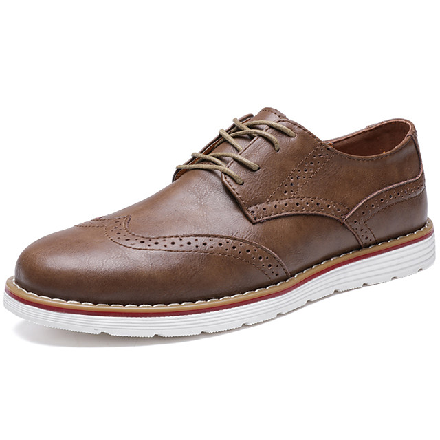 Men's Oxfords Leather Shoes Bullock Shoes Business Sporty Casual Daily Outdoor Walking Shoes Nappa Leather Cowhide Breathable Non-slipping Shock Absorbing Booties / Ankle Boots Black Khaki Brown