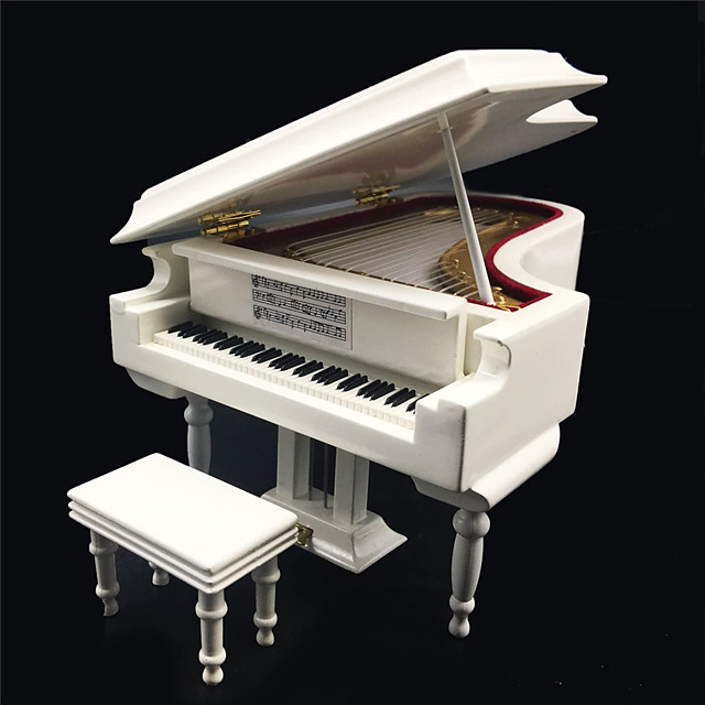 White Piano Music Box with Bench and Black Case Musical Boxes Gift for Christmas/Birthday/Valentine's Day
