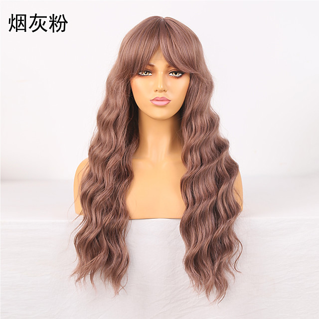 Cosplay Costume Wig Synthetic Wig Wavy Loose Curl Middle Part Wig 24 inch Pink / Grey Synthetic Hair Women's Odor Free Fashionable Design Soft Gray
