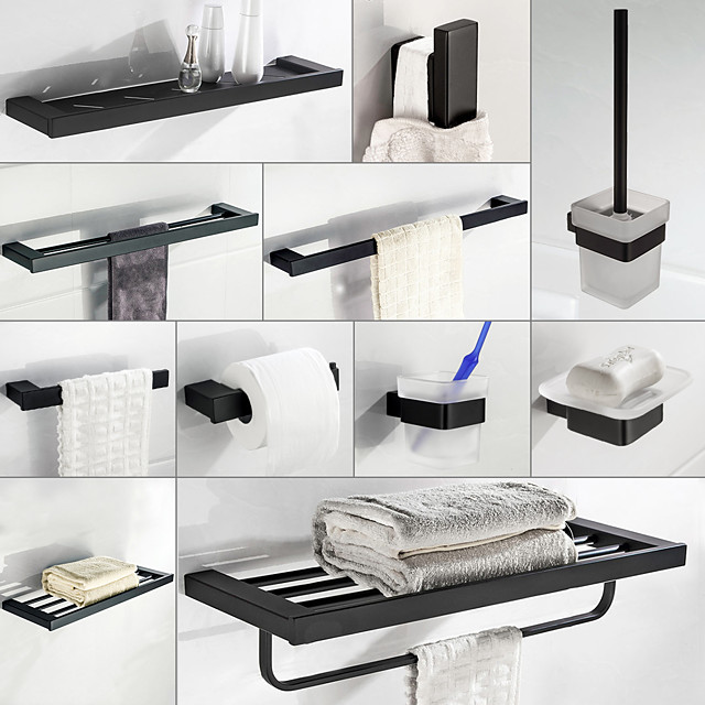 Multifunction Bathroom Accessory 1pc Include Towel Bar/Robe Hook/Towel Rack/Toothbrush Holder/Soap Dishes and Bath Shelf Stainless Steel Wall Mounted Matte Black