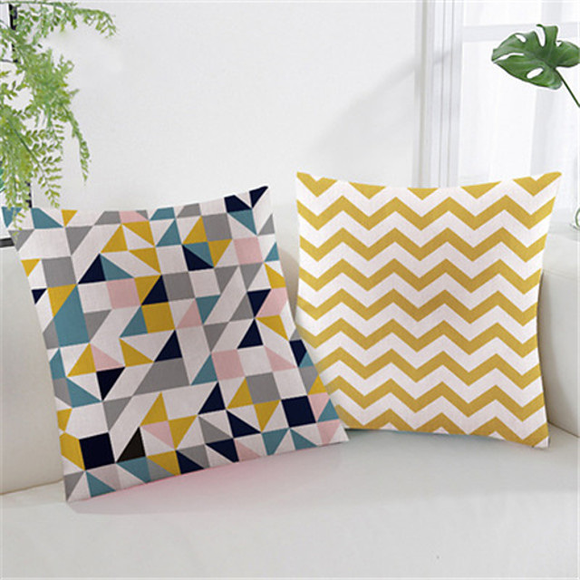 Double Side Cushion Cover 1PC Linen Soft Geometric Decorative Square  Pillowcase for Sofa Bedroom Car Chair Superior Quality Outdoor Cushion for Patio Garden Farmhouse Bench Couch