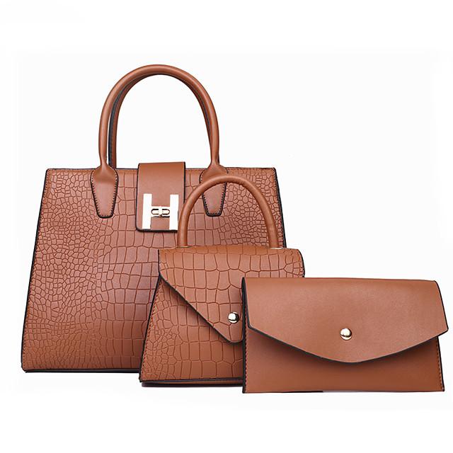 Women's Bags Bag Set 3 Pcs Purse Set Date Office & Career 2021 Black Red Gold Silver