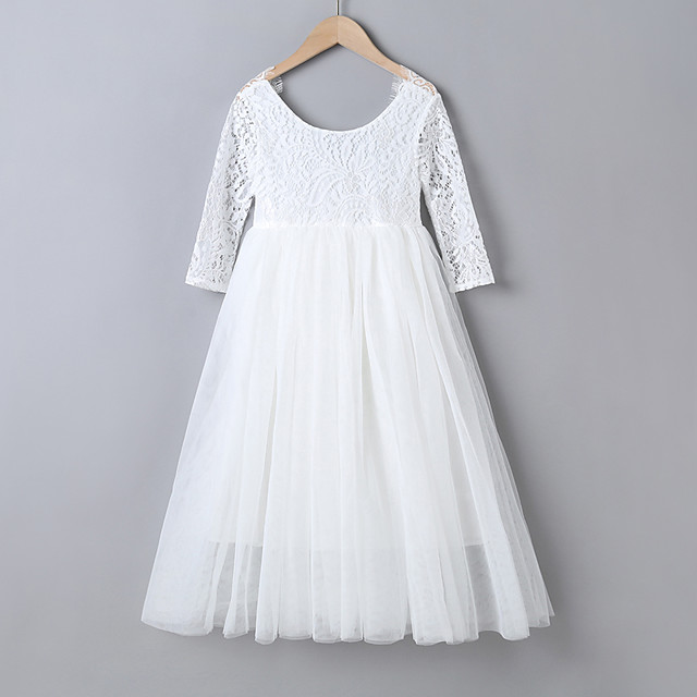 Kids Little Girls' Dress Color Block Swing Dress Party Special Occasion Backless Mesh Lace White Blushing Pink Maxi Long Sleeve Long Sweet Dresses Children's Day All Seasons Regular Fit 4-12 Years
