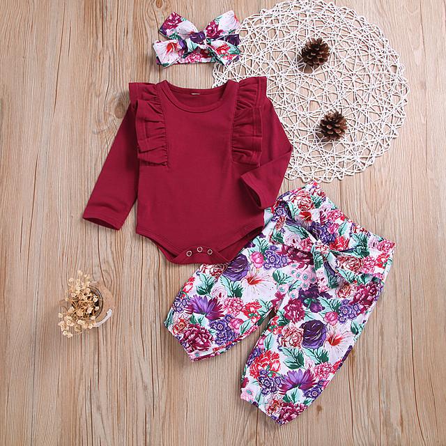 Baby Girls' Basic Floral Long Sleeve Regular Clothing Set Red