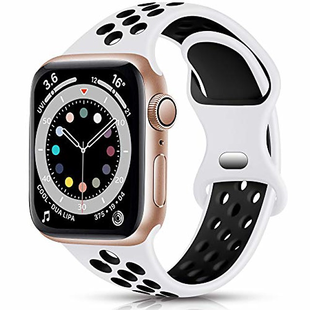 smartwatch band  sport armband compatible with apple watch armband 42mm 44mm, breathable soft silicone replacement armband compatible with iwatch se series 6 5 4 3 2 1, white / black, see p