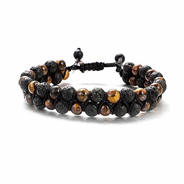 ueuc tiger eye stone woven bracelet, 6mm lava stone braided double layer bracelet, essential oil diffuser healing natural stone bead chakra adjustable yoga bracelets(#1)