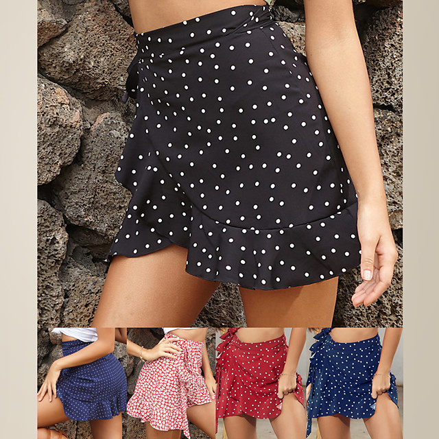 LITB Basic Women's Dot Ruched Skirt Mini Dress Weekend Vintage Outfit Colorful Short Length Bottoms