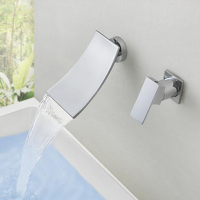 Bathroom Sink Faucet - Wall Mount / Waterfall Chrome Mount Inside Single Handle Two HolesBath Taps