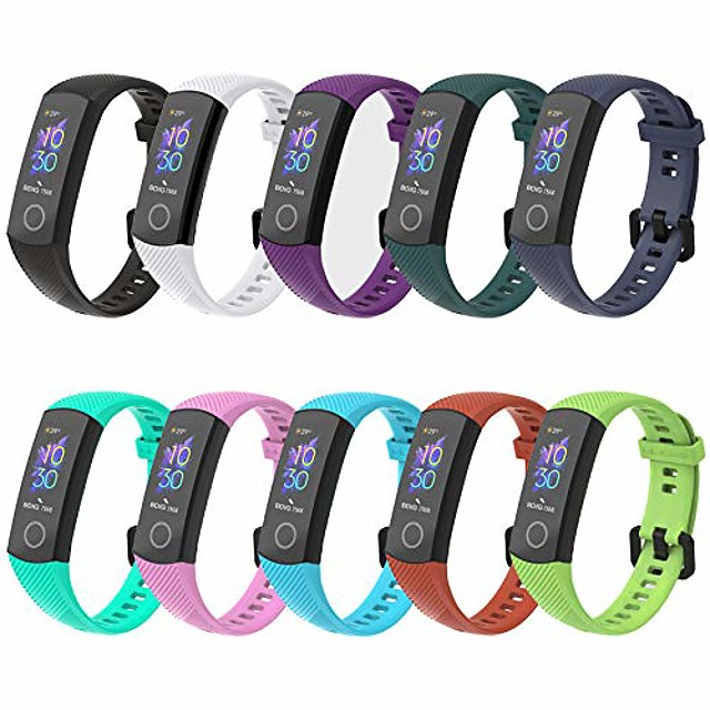 Smartwatch band 10 pcs replacement band compatible for honor band 5 band 4 wristband, sport silicone wristband smartwatch replacement bands for honor band 4 honor band 5 replacement band
