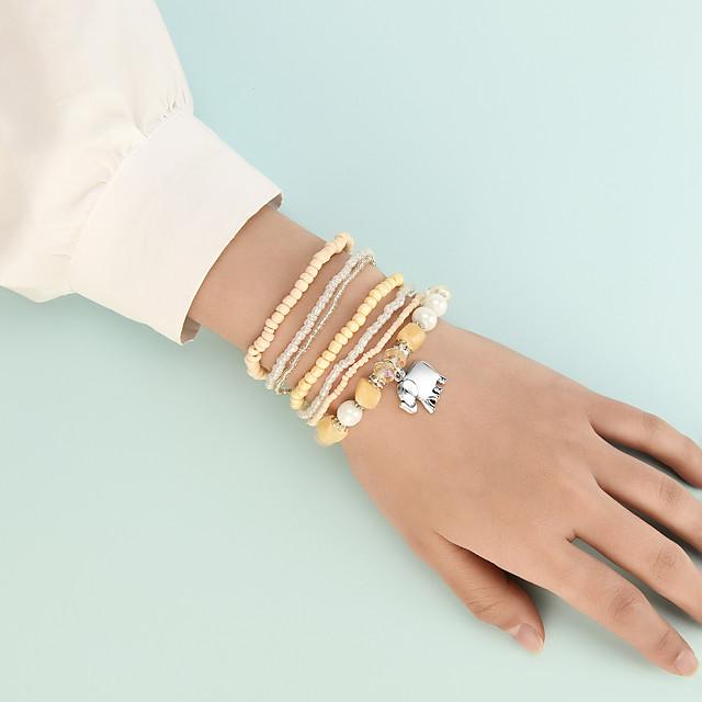 Bead Bracelet Set Stacking Stackable Elephant Cute Sweet Boho Acrylic Bracelet Jewelry Yellow For Gift Beach