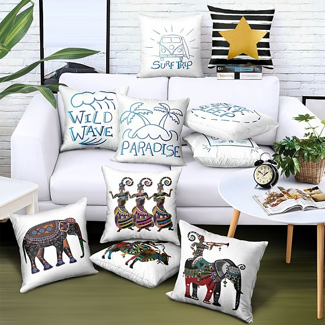 Double Side Cushion Cover 1PC Linen Soft Decorative Square  Pillowcase for Sofa bedroom Car Chair Superior Quality Outdoor Cushion for Patio Garden Farmhouse Bench Couch
