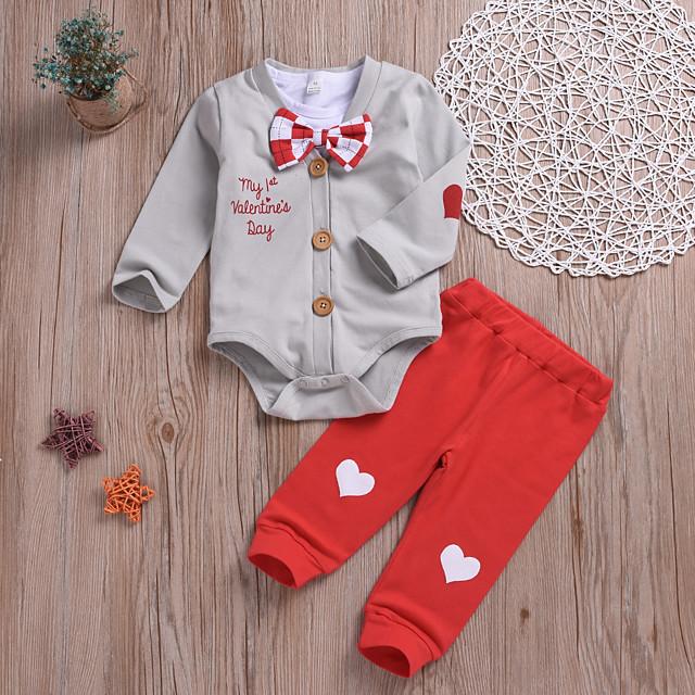 Baby Girls' Basic Print Long Sleeve Regular Clothing Set Gray
