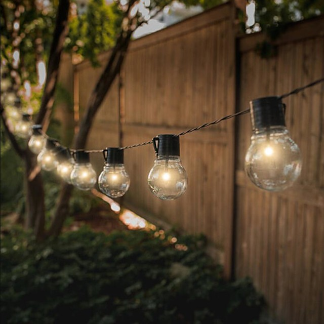 LED Solar String Lights Outdoor Wedding String Lights 6M 30 Bulbs Solar Powered Waterproof Garden Ball String for Christmas Wedding Party Layout Garland Garden Patio Décor Lamp