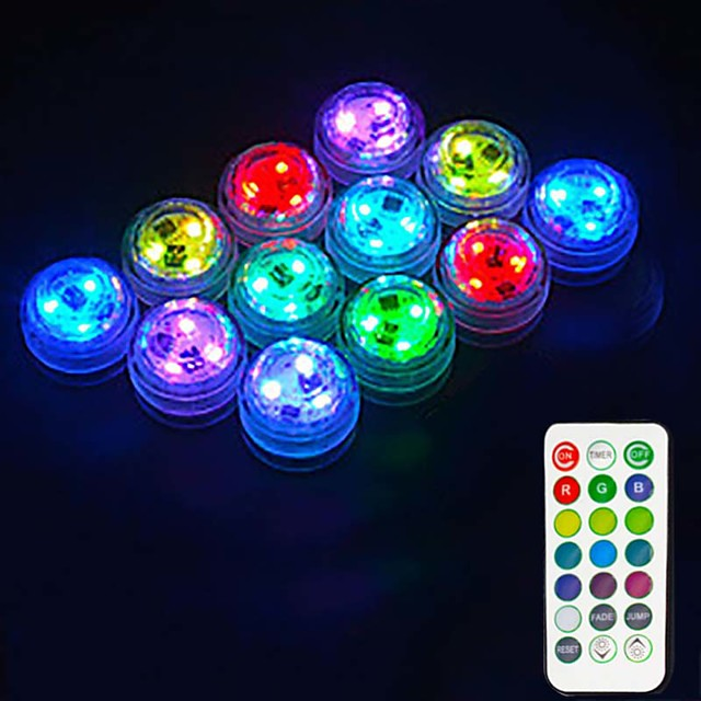 Outdoor 12PCS LED RGB Submersible Light Remote Controlled Battery Operated Underwater Night Lamp Fish Tank Pond Swimming Pool Aquarium Vase Christmas Wedding Party Decoration Lamp