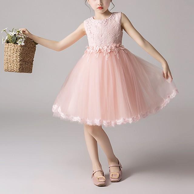 barn små jentekjole blomsterblonder fest prinsesse ensfarget kausal hvit lilla rødmende rosa mesh blonder tyll søte søte kjoler 3-12 år
