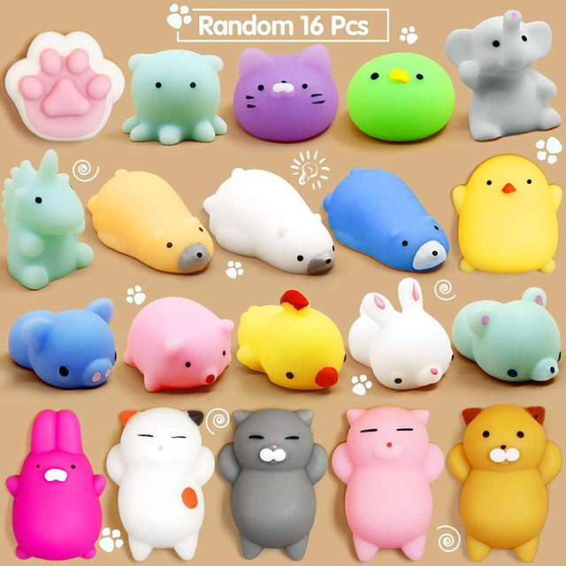 Mochi Squishy Toys, 30 Pcs Mini Squishy Party Favors for kids Animal Squishies Stress Relief Toys Cat Panda Unicorn Squishy Squeeze Toys Kawaii Squishies Birthday Gifts for Boys & Girls Random