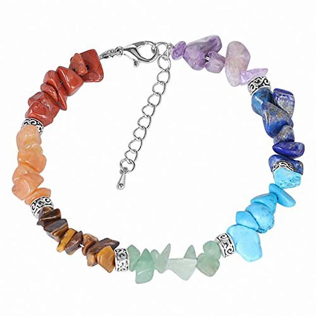 7 chakra reiki women bracelets chain link lobster clasp healing balance natural chip stone beads meditation rainbow