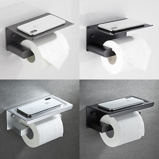 Multifunction Bathroom Tissue Rack Aluminum Toilet Rolled Paper Holder with Mobile Phone Storage Shelf Wall-mounted 1pc