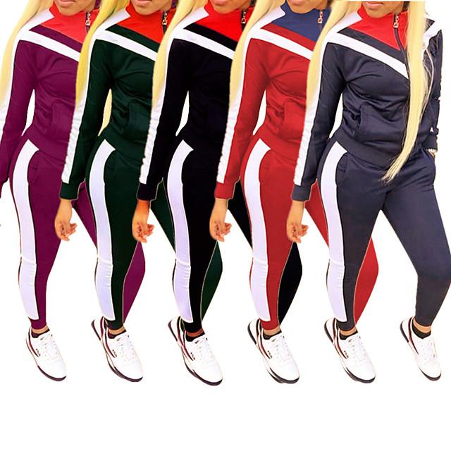 Women's 2 Piece Full Zip Tracksuit Sweatsuit Jogging Suit Street Casual Long Sleeve Fleece Windproof Breathable Soft Fitness Running Jogging Sportswear Jacket Track pants Black Dark Purple Burgundy