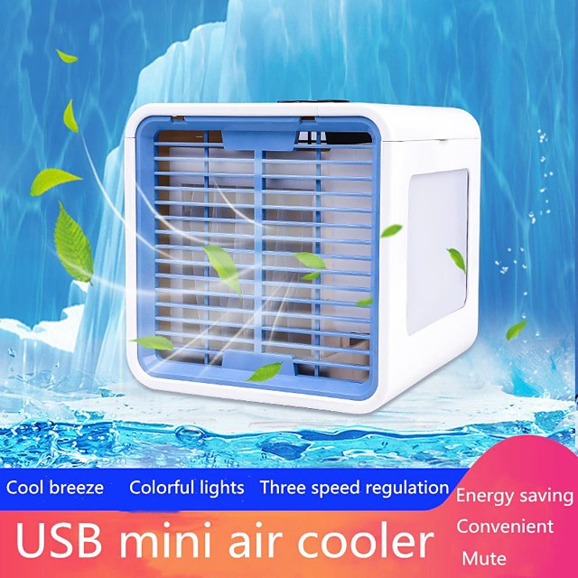 Mini Portable Air Conditioner 7 Colors Light Conditioning Humidifier Purifier USB Air Cooler Fan Desktop Small Air Conditioning Evaporative Portable Air
