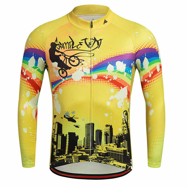 21Grams Men's Long Sleeve Cycling Jersey Spandex Polyester Yellow Rainbow Bike Jersey Top Mountain Bike MTB Road Bike Cycling Quick Dry Moisture Wicking Breathable Sports Clothing Apparel