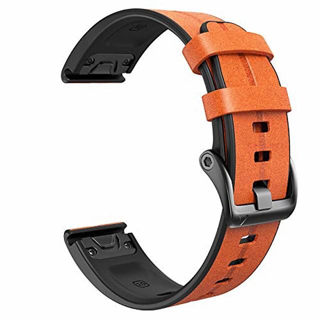 smartwatch band deri kayış için garmin fenix 5x / fenix 5x plus / fenix 6x / fenix 6x pro / fenix 3 / fenix 3 hr 26mm quick-fit yedek smartwatch bandı (açık kahverengi)