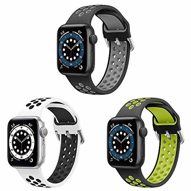 correa de reloj inteligente compatible con correa de reloj de apple 38 mm 40 mm 42 mm 44 mm correa de repuesto deportiva de dos tonos hecha de silicona suave para la serie iwatch 6 5 4 3 2 1, se,