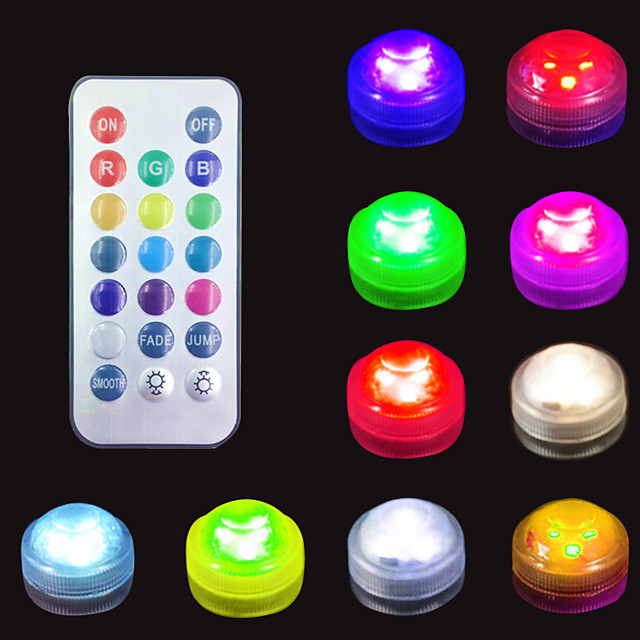 LED Submersible Light Underwater Lamp Outdoor Multi-pack for Swimming Pool Vase Bowls Aquarium Party Wedding Decor Waterproof Battery Operated RGB(Contain Remote Controller Contain Battery)