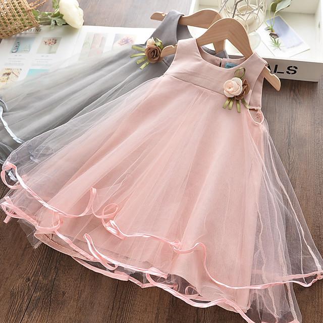 Kids Little Girls' Dress Solid Colored Print Blushing Pink Knee-length Sleeveless Basic Dresses Summer Regular Fit 3-10 Years