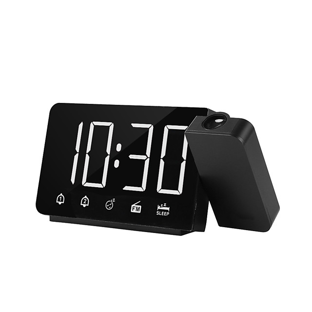 Projection Alarm Clock LED Display Time Digital Alarm Clock With Rotatable 180 Projector Dual Alarm FM Radio Snooze Function