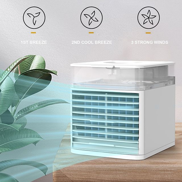 4 in 1 Multifunction Mini Air Conditioning Fan 7 Colors LED Lights USB rechargeable Air Cooler Air Conditioner Fan Desk