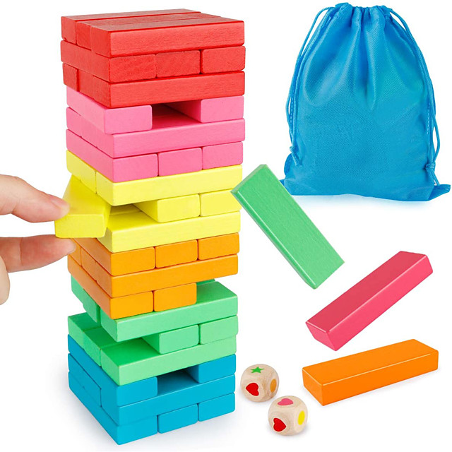 Wooden Blocks Stacking Game, Toppling Colorful Tower Building Blocks Balancing Puzzles Toys Learning Educational Sorting Family Games Montessori Toys Gifts for Kids (60 Pieces)
