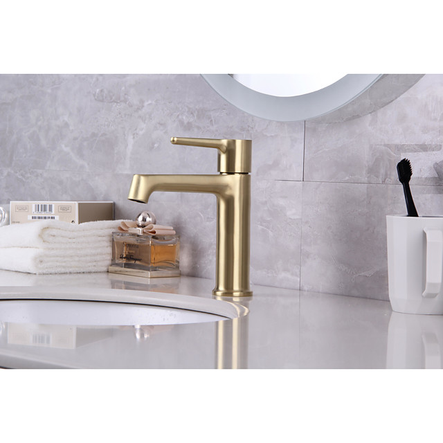 Bathroom Sink Faucet - Classic Nickel Brushed / Electroplated / Painted Finishes Mount Outside Single Handle One HoleBath Taps